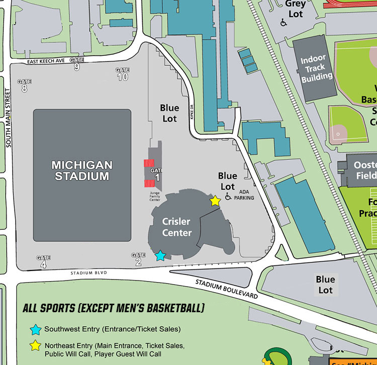 36f7f1fa97 Event parking is available free of charge in the Blue Lot surrounding  Crisler Center (lots SC4, SC5, SC6, SC7). The Crisler Center lot has  entrances on ...