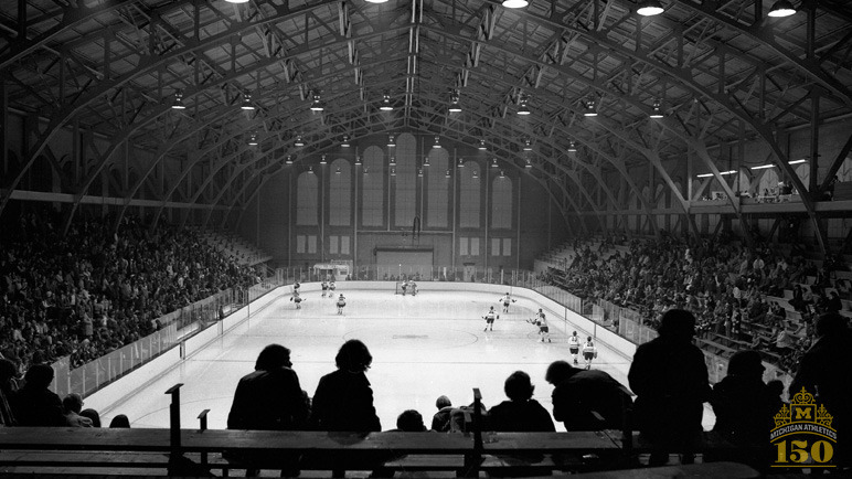 1973 : First Ice Hockey Home Game at Yost Ice Arena