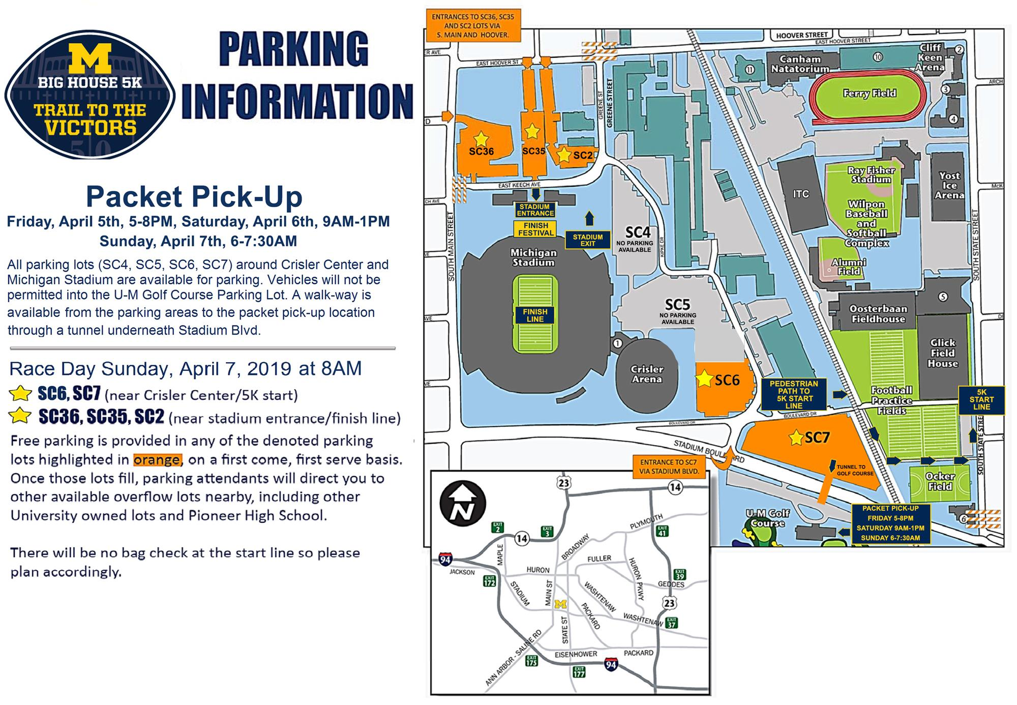 Big House 5K: Informational Maps - University of Michigan Athletics